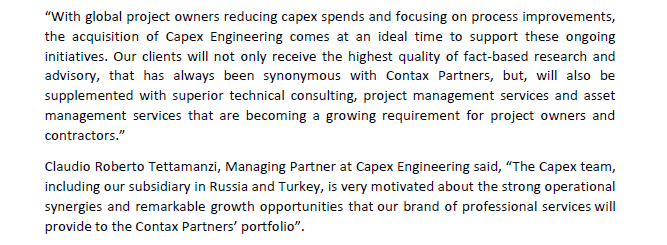 Contax Partners Acquires Swiss Based Capex Engineering